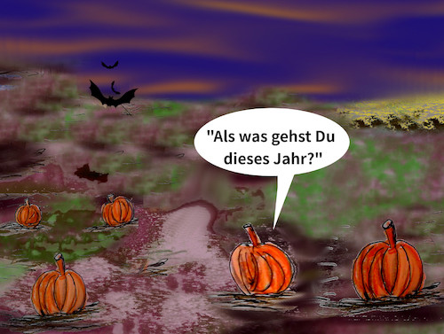 Cartoon: kostümzwang (medium) by ab tagged herbst,halloween,kürbis
