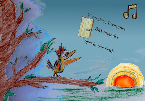 Cartoon: morgenpoesie (medium) by ab tagged morgen,sonne,aufgang,vogel,gesang,begrüssung