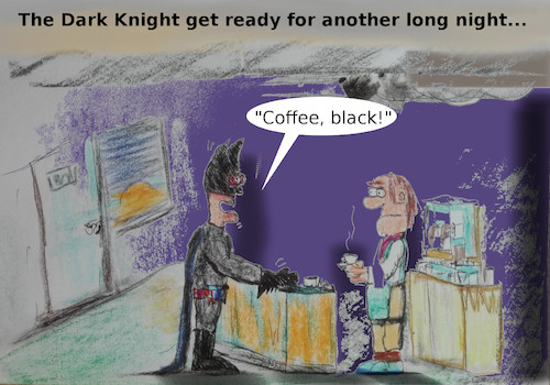 Cartoon: night (medium) by ab tagged night,fight,superhero,batman,drug,coffee