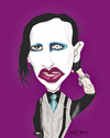 Cartoon: Marilyn Manson (small) by pisko tagged marilyn,manson,rock,heavy,metal,dövme,usa,america