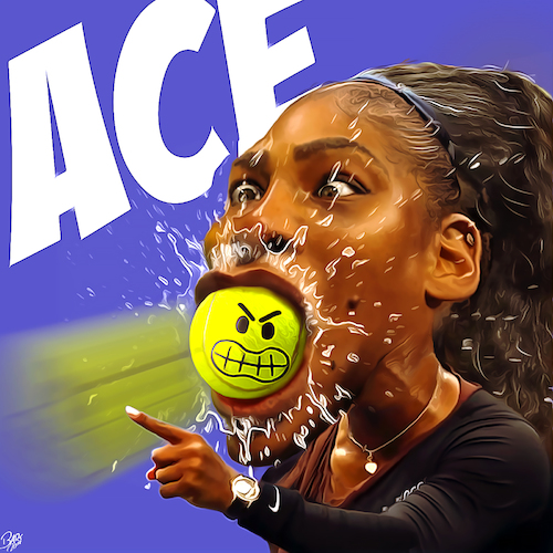 Cartoon: ACE (medium) by Bart van Leeuwen tagged serena,williams,tennis,cartoon,racist