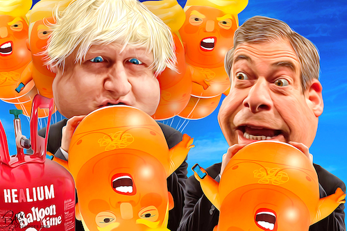 Cartoon: Afterparty (medium) by Bart van Leeuwen tagged trump,uk,visit,nigal,farage,boris,johnson,baby,balloon