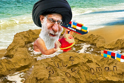 Cartoon: Gulf of Oman (medium) by Bart van Leeuwen tagged gulf,of,oman,iran,war,tonkin,khamenei,tanker,attacks