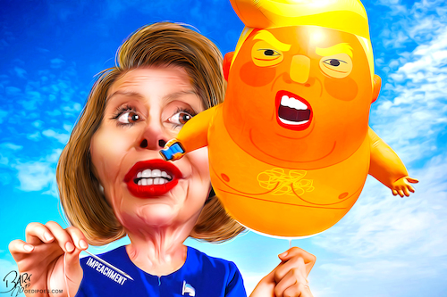 Cartoon: Impeachment Trump Pelosi (medium) by Bart van Leeuwen tagged impeachment,trump,balloon,impeach,ukraine,whistleblower