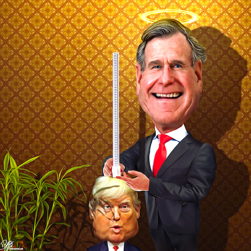 Cartoon: Political yardstick (medium) by Bart van Leeuwen tagged bush,wh,trump,41,republican,former,president,rip