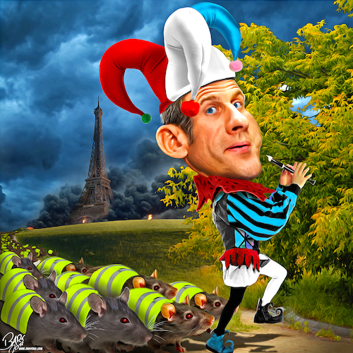 Cartoon: Ratatouille (medium) by Bart van Leeuwen tagged gilets,jaunes,yellow,vests,macron,eiffel,tower,paris