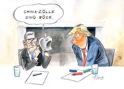 Cartoon: China-Zölle (medium) by Paolo Calleri tagged usa,china,handelskrieg,zoelle,strafzoelle,unternehmen,apple,tim,cook,us,praesident,trump,gespraech,abraten,rat,empfehlung,konzern,konzernchef,samsung,wirtschaft,karikatur,cartoon,paolo,calleri,usa,china,handelskrieg,zoelle,strafzoelle,unternehmen,apple,tim,cook,us,praesident,trump,gespraech,abraten,rat,empfehlung,konzern,konzernchef,samsung,wirtschaft,karikatur,cartoon,paolo,calleri