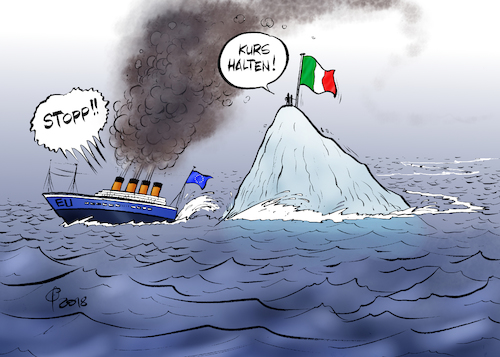 Cartoon: Verfahrene Situation (medium) by Paolo Calleri tagged eu,kommission,italien,haushalt,haushaltsstreit,ausgaben,defizit,defizitverfahren,sanktionen,regierung,rom,lega,5sterne,stelle,populisten,populismus,euro,eurozone,stabilitaet,kritik,schulden,neuverschuldung,karikatur,cartoon,paolo,calleri,eu,kommission,italien,haushalt,haushaltsstreit,ausgaben,defizit,defizitverfahren,sanktionen,regierung,rom,lega,5sterne,stelle,populisten,populismus,euro,eurozone,stabilitaet,kritik,schulden,neuverschuldung,karikatur,cartoon,paolo,calleri