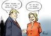 Cartoon: Testkandidaten (small) by Paolo Calleri tagged usa,praesidentschaft,wahlen,kandidaten,donald,trump,hillary,clinton,tv,duell,debatte,forderung,drogen,test,republikaner,demokraten,karikatur,cartoon,paolo,calleri