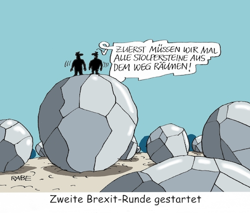 Cartoon: Stolpersteine (medium) by RABE tagged brexit,grexit,eu,brüssel,eurozone,london,athen,theresa,may,austritt,april,rabe,ralf,böhme,cartoon,karikatur,pressezeichnung,farbcartoon,tagescartoon,verhandlungen,runde,zwei,stolpersteine,gutachter,unterhändler,davis,fortschritte,brexit,grexit,eu,brüssel,eurozone,london,athen,theresa,may,austritt,april,rabe,ralf,böhme,cartoon,karikatur,pressezeichnung,farbcartoon,tagescartoon,verhandlungen,runde,zwei,stolpersteine,gutachter,unterhändler,davis,fortschritte
