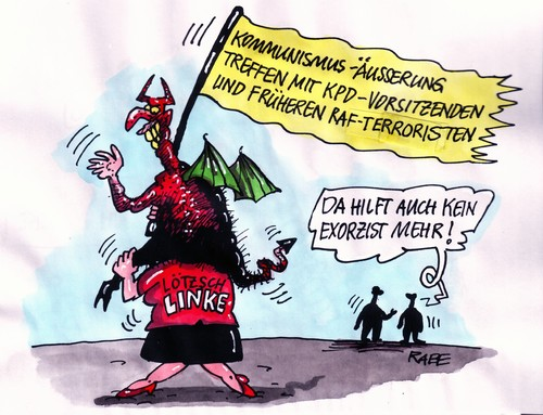 Cartoon: Vom Teufel besessen (medium) by RABE tagged linke,kommunisten,pds,sed,euro,kpd,gesine,lötzsch,stasi,unrechtsstaat,raf,teufel,satan,exorzist,exorzismus,linke,kommunisten,pds,sed,euro,kpd,gesine,lötzsch,stasi,unrechtsstaat,raf,teufel,satan,exorzist,exorzismus