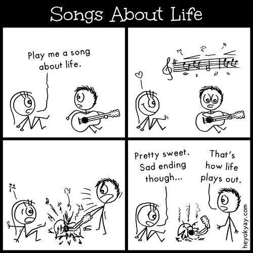 Cartoon: Songs about life (medium) by heyokyay tagged life,song,guitar,musician,guitarist,comic,stickfigures,heyokyay