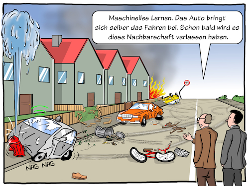 Cartoon: Autonomes Fahren (medium) by CloudScience tagged selbstfahrendes,auto,maschine,learning,maschinelles,lernen,ki,kuenstliche,intelligenz,deep,tech,technologie,digital,digitalisierung,iot,internet,der,dinge,vernetzt,smart,autonomes,fahren,selbstlernend,cloud,big,data,algorithmen,it,technik,mobilitaet,verkehr,strasse,zukunft,disruption,transformation,illustration,cartoon,moeller,logistik,selbstfahrendes,auto,maschine,learning,maschinelles,lernen,ki,kuenstliche,intelligenz,deep,tech,technologie,digital,digitalisierung,iot,internet,der,dinge,vernetzt,smart,autonomes,fahren,selbstlernend,cloud,big,data,algorithmen,it,technik,mobilitaet,verkehr,strasse,zukunft,disruption,transformation,illustration,cartoon,moeller,logistik