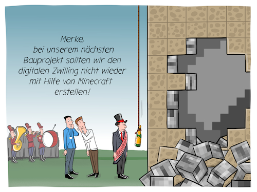 Cartoon: Digitaler Zwilling (medium) by CloudScience tagged digitaler,zwilling,digital,twin,bauen,bauprojekt,gebaeude,bauindustrie,bim,haus,architektur,infrastruktur,immobilie,eroeffnung,taufe,einweihung,minecraft,virtuelles,abbild,virtuell,digitalisierung,technik,technologie,it,software,planung,projekt,building,information,modeling,vernetzung,zukunft,wirtschaft,business,digitaler,zwilling,digital,twin,bauen,bauprojekt,gebaeude,bauindustrie,bim,haus,architektur,infrastruktur,immobilie,eroeffnung,taufe,einweihung,minecraft,virtuelles,abbild,virtuell,digitalisierung,technik,technologie,it,software,planung,projekt,building,information,modeling,vernetzung,zukunft,wirtschaft,business