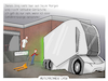 Cartoon: Autonomer LKW (small) by CloudScience tagged autonom autonomer lkw spedition logistik lieferung mobilitaet selbstfahrend elektro elektroantrieb auto lastkraftwagen anlieferung gefahrenzulage tech technologie it technik business ladezone daten digitalisierung digital wirtschaft strasse verkehr mobil zukunft einride trend future innovation disruption schenker db cartoon tpod illustration