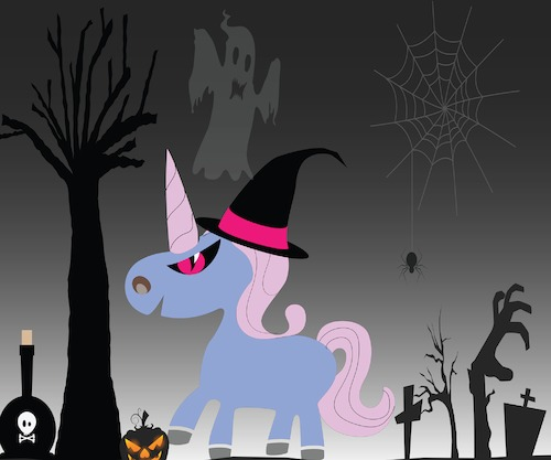 Cartoon: unicorn in Hallowen theme (medium) by anupama tagged unicorn