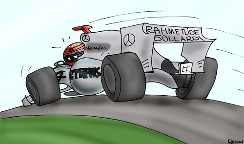 Cartoon: Schumacher with Mercedes F1 (medium) by Omer Said tagged schumacher,f1,mercedes,michael,formula,schumi