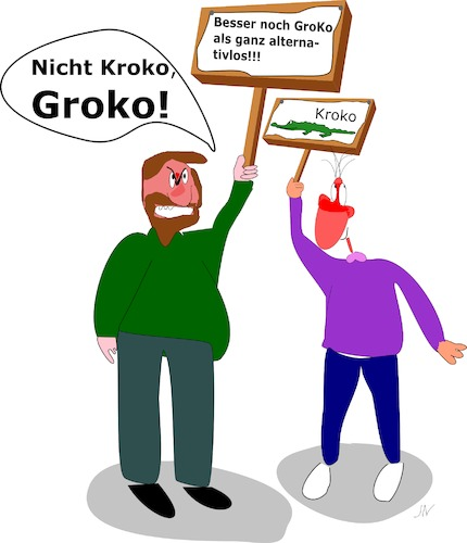 Cartoon: Groko (medium) by Jochen N tagged groko,grosse,koalition,spd,cdu,csu,merkel,schulz,bundestagswahl,regierung,opposition,sondierung,bundeskanzlerin,alternativ,alternativlos,demo,kroko