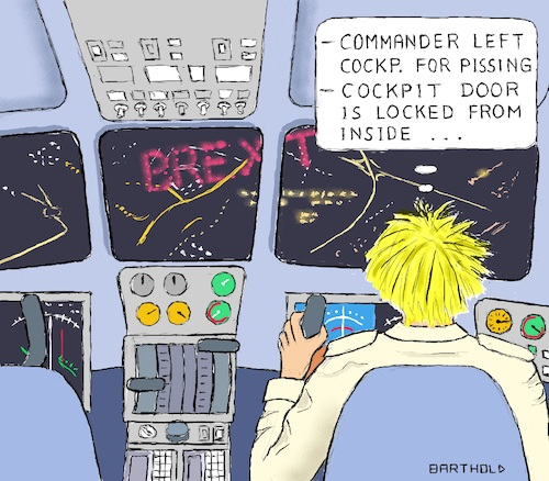 Cartoon: Boris in the Role of A. Lubitz (medium) by Barthold tagged boris,johnson,prime,minister,britain,hard,brexit,disregard,parliament,democratic,rules,andreas,lubitz,german,pilot,suicide,french,alps,occupied,airliner,germanwings,2015,cockpit,nocturnal,city,bright,lettering,yoke,instruments,airplane,crash,prorogation