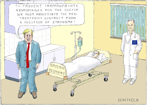 Cartoon: BREXIT Who depends on whom? (medium) by Barthold tagged conservative,party,conference,2018,birmingham,boris,johnson,michel,barnier,european,union,united,kingdom,brexit,bedside,patient,tory,doctor,infusion,bottle,medical,treatment,contract,economy,trade,banking,services