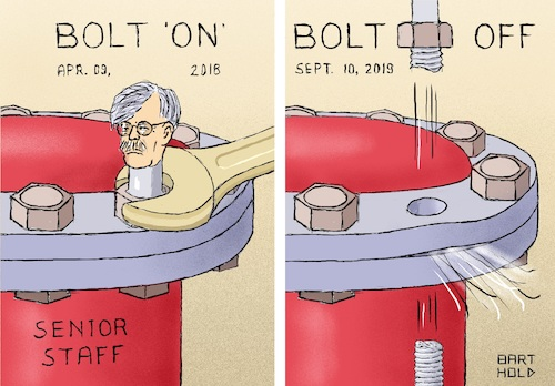 Cartoon: Dismissal of John Bolton (medium) by Barthold tagged john,bolton,assistant,national,security,affairs,dismissal,september,10,2019,senior,staff,pressure,tank,bolt,fracture,steam,jet