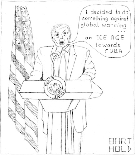 Cartoon: T.s Contrib. against Glo. Warmg. (medium) by Barthold tagged trump,press,conference,glabalwarming,global,warming,ovaloffice,oval,office,iceage,ice,age,cuba,climate,protection,agreement,paris
