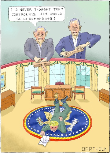 Cartoon: Wild President Tamers (medium) by Barthold tagged donald,trump,book,bob,woodward,fear,john,kelly,james,mattis,marionette,theater,string,puppet,white,house,oval,office,american,president,seal,tamer,effort,excursiveness,modiness,immorality,blushing,popping,veins