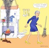 Cartoon: BREXIT Kitchen (small) by Barthold tagged theresa,may,prime,minister,united,kingdom,announcement,resignation,june,07,kitchen,cooker,burn,smoke,stains,dribble,spill,apron