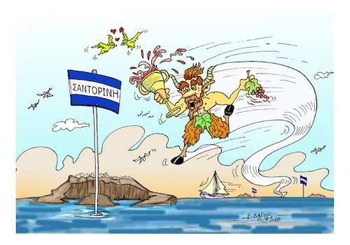 Cartoon: god PAN and ISLAND SANTORINI (medium) by vasilis dagres tagged greece,summer,holidays