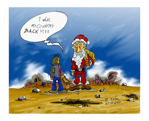 Cartoon: SANTA CLAUS (medium) by vasilis dagres tagged immigrants,war,peace