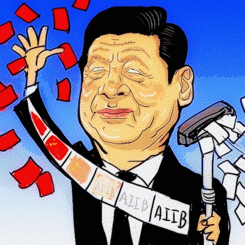 Cartoon: AIIB (medium) by takeshioekaki tagged aiib