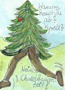 Cartoon: Flüchtende Tanne (small) by Manuela Reitz tagged natur,wald,tannenbaum,christbaum,weihnachtsdekoration,sturm,umweltkatastrophen,körper,menschlich,pflanzlich