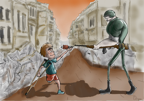 Cartoon: Children love in all circumstanc (medium) by Orhan ATES tagged kids,love,war,peace,humanity,cartoon,health,accidents