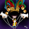 Cartoon: The king and the jester (small) by Orhan ATES tagged king,jester,human,humanity,word,cartoon,caricature,rule
