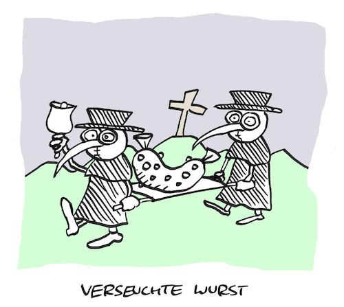 Cartoon: Todeswurst (medium) by Bregenwurst tagged wilke,wurst,skandal,listerien,tod