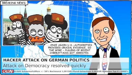 Cartoon: Attack on Democracy (medium) by Cory Spencer tagged cyberwar,hacker,hacking,hackerattack,cyberattack,democracy