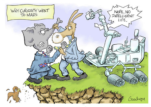 Cartoon: Curiosity (medium) by Goodwyn tagged fight,bird,cliff,mars,curiosity,republican,democrat,elephant,donkey