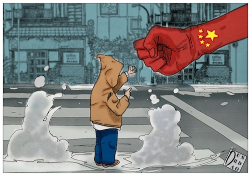 Cartoon: Hongkongprotests (medium) by Christi tagged hong,kong,mask