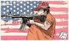 Cartoon: AMERICAN HATE (small) by Christi tagged american,gun,antisemitismo,pensilvania
