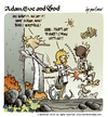 Cartoon: Adam Eve and God 44 (small) by mortimer tagged mortimer,mortimeriadas,cartoon,comic,biblical,adam,eve,god,snake,paradise,bible