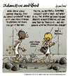 Cartoon: Adam Eve and God 45 (small) by mortimer tagged mortimer,mortimeriadas,cartoon,comic,biblical,adam,eve,god,snake,paradise,bible