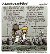 Cartoon: Adam Eve and God 48 (small) by mortimer tagged mortimer,mortimeriadas,cartoon,comic,biblical,adam,eve,god,snake,paradise,bible