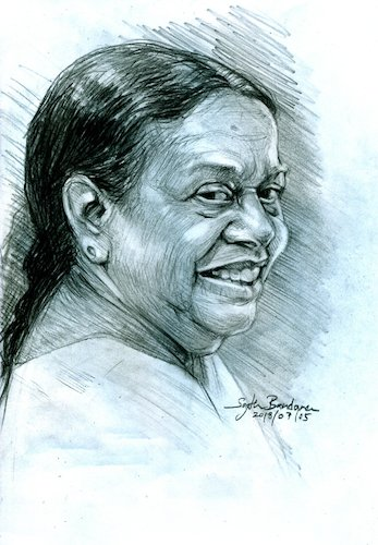 Cartoon: Sri Lankan  singer Nanda Malani (medium) by Sajith Bandara tagged nanda,malani