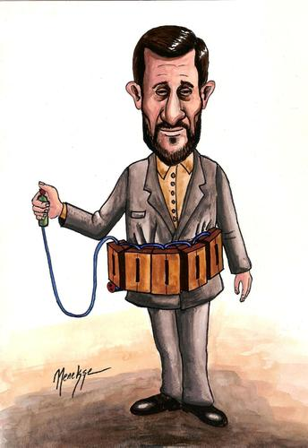 Cartoon: Ahmedinejad (medium) by menekse cam tagged ahmedinejad,iran,election,mutiny