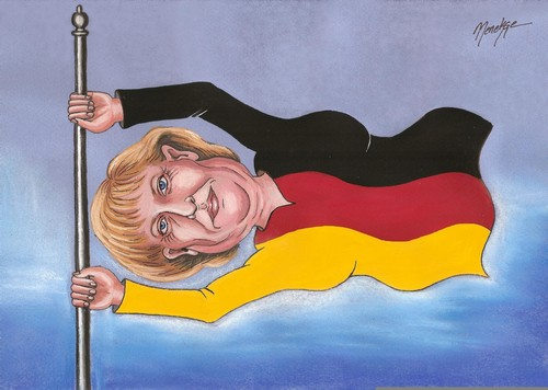 Cartoon: Angela MERKEL (medium) by menekse cam tagged angela,merkel,portrait,germany,flag,caricature,cartoon