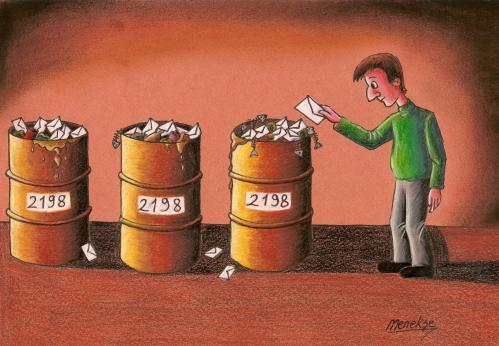 Cartoon: ballot boxes (medium) by menekse cam tagged ballot,box,election,votes,trash,cans