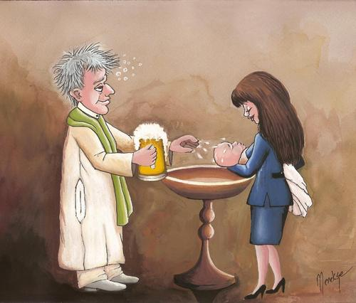 Cartoon: Beer (medium) by menekse cam tagged baptize,baby,woman,priest,beer