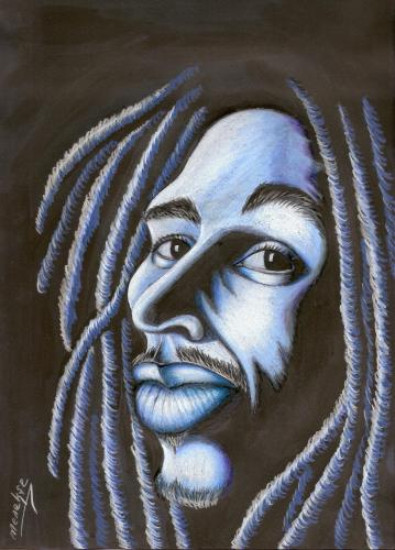 Cartoon: Bob MARLEY (medium) by menekse cam tagged bob,marley,singer,man,portrait