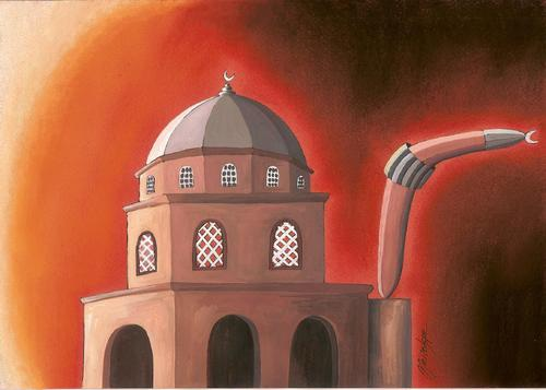 Cartoon: Boomerang (medium) by menekse cam tagged boomerang,swiss,referendum,minarets,mosque,minaret,islam
