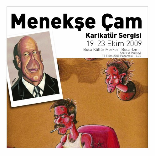Cartoon: exhibition -sergi (medium) by menekse cam tagged first,exhibition,personal,invitation,friends,menekse,cam